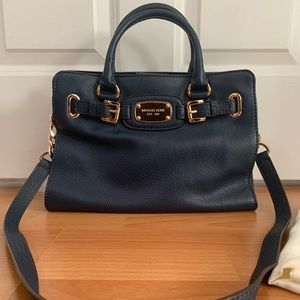 Michael Kors Hamilton Satchel Navy Blue